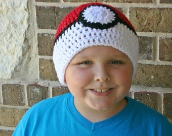 Crochet Pokemon Hat, Pokeball Hat, Pokemon Go Hat, Gifts for Pokemon fans, Gifts for boys, gifts for girls, gifts for kids, gifts for men