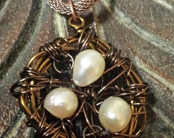 Copper Wire and Pearl Bird's Nest Pendant Necklace
