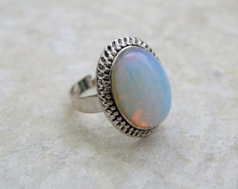 Opal Ring, Adjustable White Natural Opal Antique Silver Ring, Statement Ring