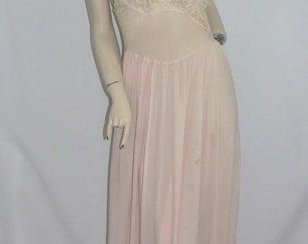 "1940's Fischer ""Mermaid"" Silk Peach Pink Negligee with  Lace"
