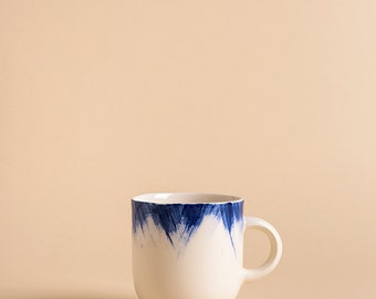 Handmade Ceramic mug with blue brushstrokes H: 3″ / Coffee mug / Hand painted ceramic mug / Tea cup / Stoneware cup