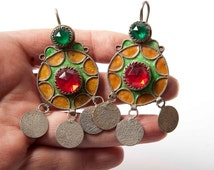 Colourful round large Tiznit Moroccan Berber earrings with coin dangles