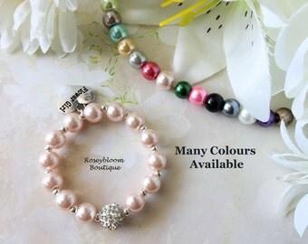 Blush Bracelet-Pink Girl Bracelet-Flower Girl Bracelet-Pink Flower Girl Bracelet-Flower Girl Gift-Girl Jewelry-Rhinestone Pearl Bracelet