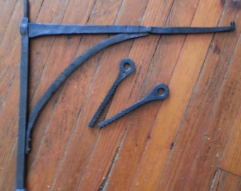 fireplace crane with pintles, hand forged by blacksmith