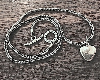 Sterling Silver Bali Wheat Chain Necklace Decorative Toggle Clasp & Pearl Dangle with Sterling Heart/Triangle Dangle