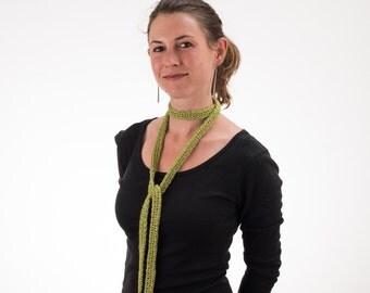 Choker Scarf, MOSS GREEN, Silk and Bamboo, Long Skinny Scarf - 203/204