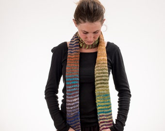 Long Knit Scarf, Multicolored Stripes, Boho Scarf, Rainbow Scarf, Cotton, Silk, Wool - 137