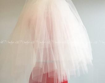 Veil Wedding Veil, Puffy Veil With Raw Cut Edge, White Cathedral Wedding Veils, Ivory Cathedral Veil,  Wedding Veil,