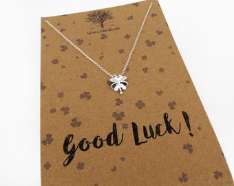 Clover Necklace - Leaving Gift, Four Leaf Clover, Graduation, New Job, Dainty Necklace, Lucky Charm, Shamrock Jewellery - Gift for Her