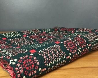 Vintage Welsh Tapestry Blanket - Melin Tregwynt - Reds & Greens.