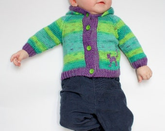 """Green and violet baby cardigan hand knitted organic 3-6 months old EU size 68 """"spring dew"""""""
