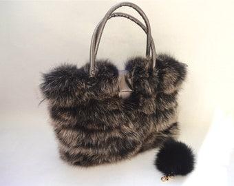 Genuine fox fur bag, real fox handbag, laptop bag ,real fox fur bag fur portfolio shoulder business handbag.
