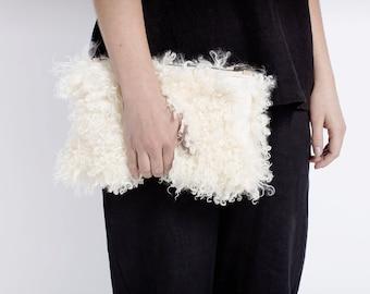 Sheepskin Fur Clutch - Cream Curly Hide | Wallet | Purse | Bag | Clutch