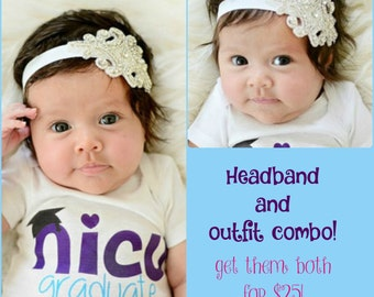 Newborn Girl Take Home Outfit NICU Graduate Outfit and Matching Headband Coming Home Oufit Miracle Baby Girl Outfit OnePiece Outfit