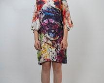 Pure Silk Multi Colour Dress; Silk Kimono Dress; Eye Print Dress; Light weight Spring Summer Dress; Wedding Dress; Ascot Dress
