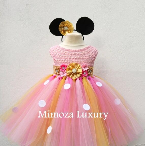 Minnie mouse dress minnie mouse birthday dress Flower girl dress pink  tutu dress mickey mouse princess dress pink crochet top tulle dress