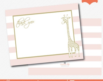 baby shower thank you note, pink stripe thank you note, giraffe thank you note, giraffe, thank you note card, pink and gold thank you note