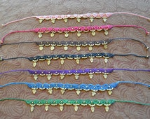 Macrame Anklet with Brass - Tribal Anklet - 6 colours.