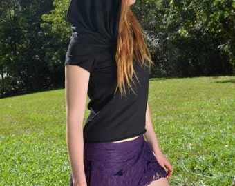 Wanderer Short-Sleeved Cowl Neck Hood, Black, Hoodie Top, Off the Shoulder Top, Hippie, Faerie, Festival Clothing, Pixie top,