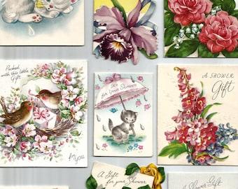 Nine vintage wedding shower gift tag card collage rose kitten flowers floral digital download printable instant image