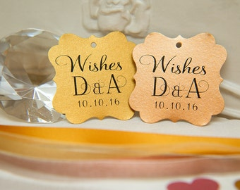 Custom Wishing Tree Tags. Wedding Wishes with Initials and date. Gold, Copper Wedding cards. Square printed favour tags. Wedding Guestbook