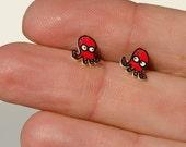 Animal earrings mini red octopus hand drawn hipoallergenic steel back