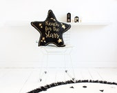 Reach for the Stars Hand Printed Cushion Pillow - Gold on Black