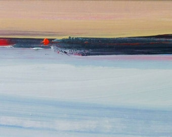 BEACH, Rhoscolyn. Original Abstract Landscape Acrylic Painting.