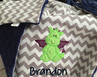 Little Dragon Baby Blanket | Personalized Dragon Baby Blanket | Dragon Baby Blanket | Gender Neutral Baby Blanket | Baby Dragon Blanket