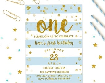 First birthday Invitation Boys, 1st birthday invitation boy, Boy's 1st Party Invite, Blue and Gold Invitation, Confetti Invitation Printable