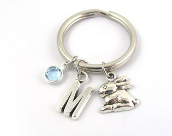 Rabbit Keychain- choose a birthstone and initial, Rabbit Keyring, Rabbit Gift, Bunny Keychain, Bunny Keyring, Bunny Gift, Rabbit Charm Gift
