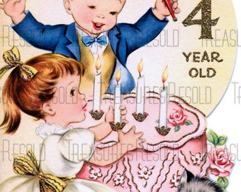 Happy Birthday 4 Year Old Boy & Girl Birthday Cake Card #438 Digital Download