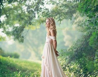 Amelia Wedding Dress, Bohemian Wedding Dress, Champagne Wedding Dress, 3D Rosettes Wedding Dress, Off Shoulders Wedding Dress