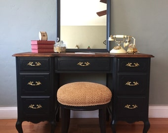SAMPLE PIECE ONLY - Vintage French Provincial Vanity Desk with Mirror and Stool
