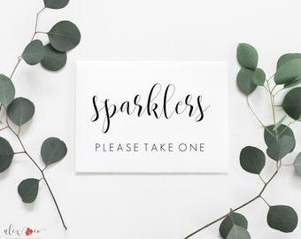 Wedding Sparkler Sign Printable. Wedding Sparklers. Please Take One Sign. Wedding Printables. Wedding Send Off. Send Off Printable.