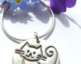 Silver cat necklace, cute cat pendant, silver cat charm, cat jewellery, cat jewelry, silver cat pendant, crazy cat lady, cat lover gift