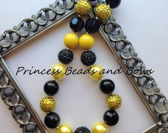 Shades of Black and Yellow Chunky Necklace,  Black and Yellow Bubble Gum Necklace, Girls Necklace