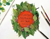 "Frida Kahlo   Print MircoQuote ""I love you more than my own skin."" Valentine, Valentine's Day (S, L)"