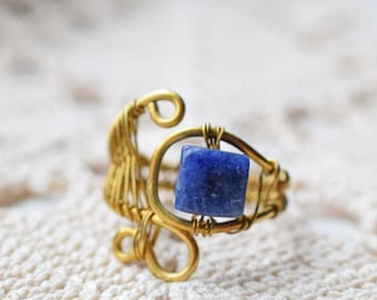 Royal Blue and Gold Wire Wrapped Ring