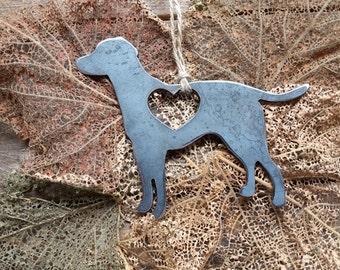 Labrador Retriever Ornament Dog Rustic Raw Steel Metal Recycled Heart Christmas Tree Ornament Holiday Gift Industrial Decor Wedding Favor