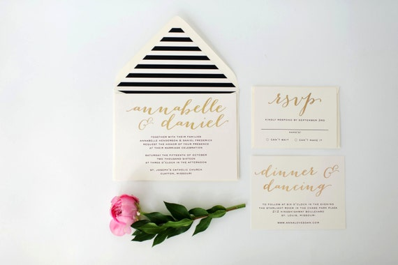 annabelle gold foil wedding invitation sample set  // lola louie paperie