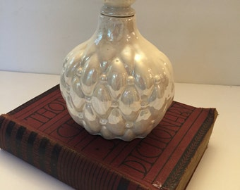Vintage Iridescent White Mother of Pearl Decanter Bottle