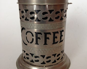Silverplate Coffee Storage Canister with black plastic liner