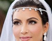 Kim Kardashian Headpiece - Bridal Headband, Wedding Headband, Forehead band, Head Chain, Art Deco, Wedding Hair Accessories, Prom