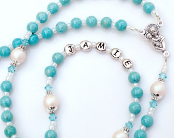 Personalized Rosary Beads - Turquoise Blue Gemstone / Swarovski Crystal Baptism Gift for Girls, First Holy Communion, Confirmation, Catholic