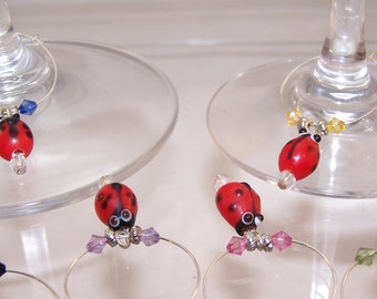 Ladybug Wine Charms, Set of 6, Housewarming Gift, Hostess, Host, Wine Tasting, Ladybird, Lady Beetle, Cute Wineglass Markers, Insects, Bugs