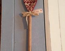 Decoupage wooden spoon