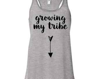 Growing My Tribe Racerback Tank - Pregnancy Announcement Shirt, Preggers Shirt, Pregnancy Tank Top, Pregnancy Shirt