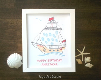 Fingerprint Ship, Baby Shower Keepsake, Birthday Fingerprint, Ship with Fingerprint, Nursery Art, Baby Decor, Birthday Fingerprint DIGITAL