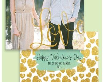 Valentine Card Template - Valentine's day template for Photographers -Valentine Card - Love Card - Photoshop Templates - VD001